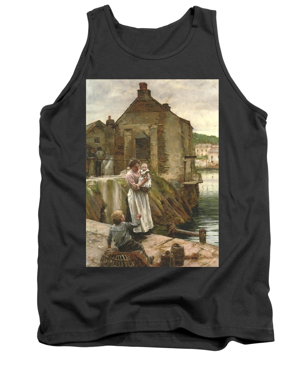 Walter Langley Tank Top featuring the digital art On The Quay Newlyn by Walter Langley