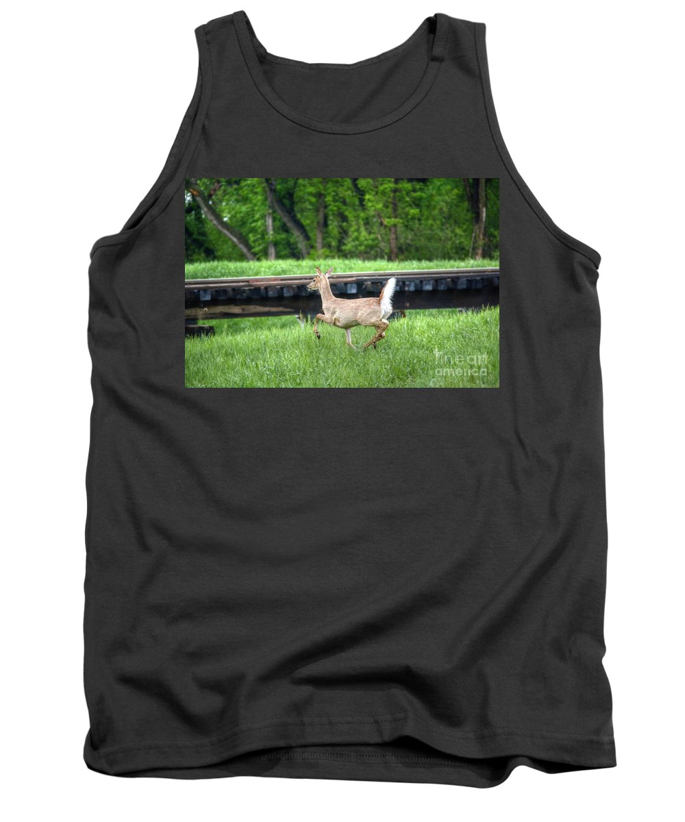 Deer Tank Top featuring the photograph On The Run by M Dale