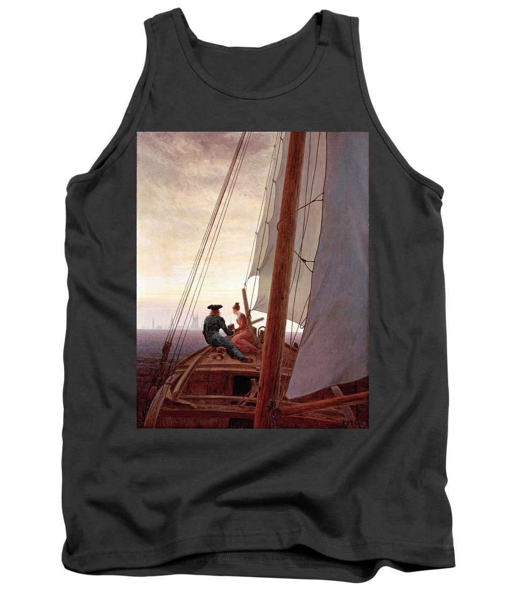 Caspar David Friedrich Tank Top featuring the painting On The Sailing Boat by Caspar David Friedrich