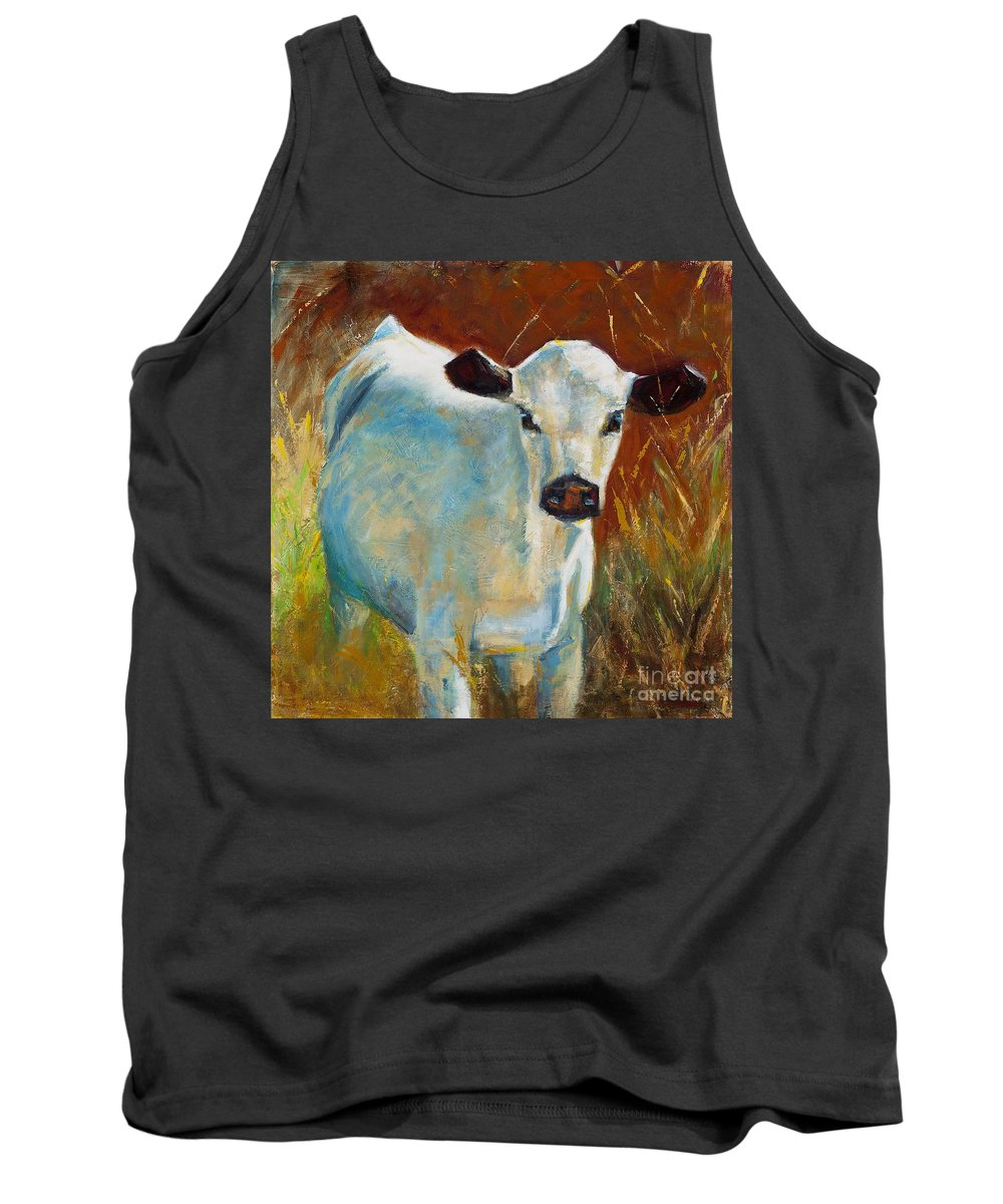 Cows Tank Top featuring the painting Once In A Blue Moon by Frances Marino