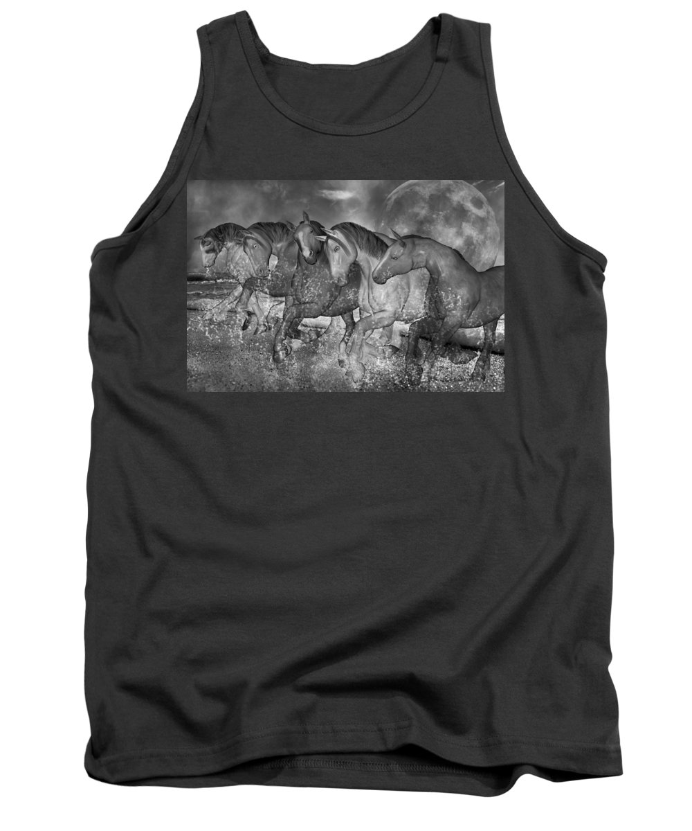 Horse Tank Top featuring the digital art One With The Sea by Betsy Knapp