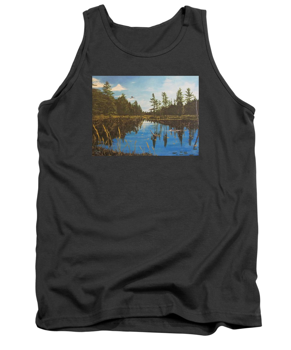O'neal Lake Tank Top featuring the painting O'neal Lake by Wendy Shoults