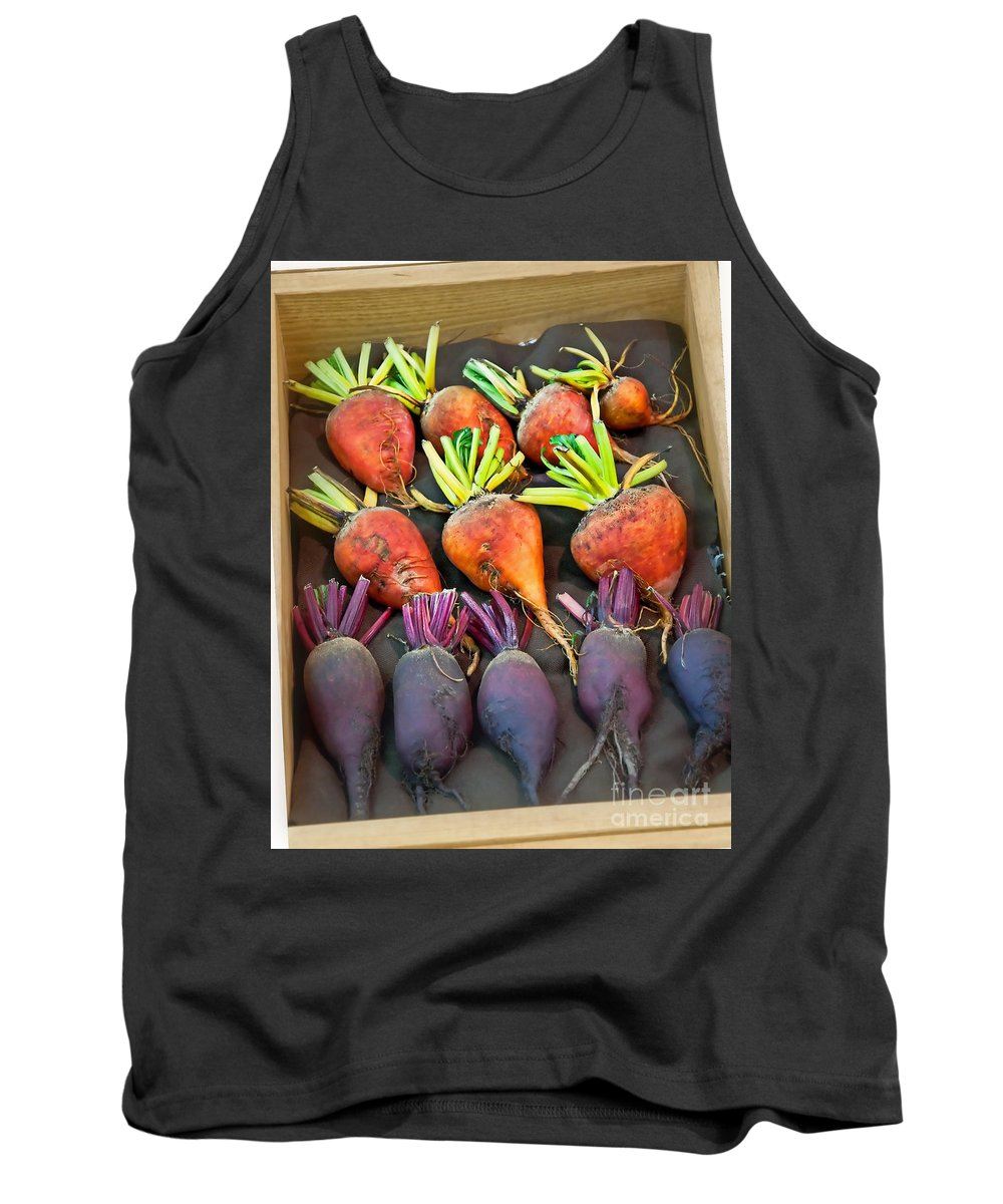 Orange And Purple Beets Tank Top featuring the photograph Orange And Purple Beet Vegetables In Wood Box Art Prints by Valerie Garner