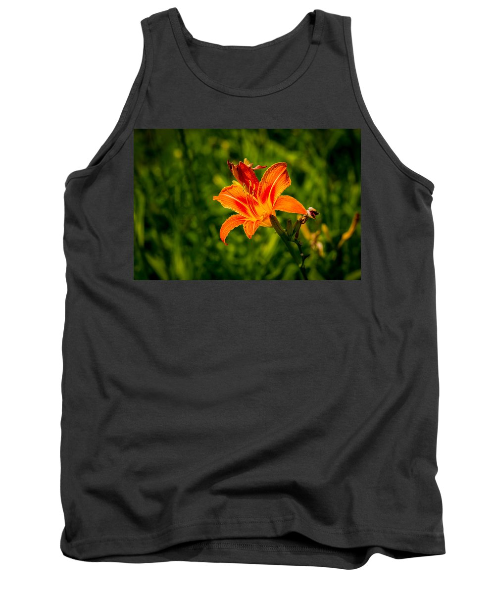 Background Tank Top featuring the photograph Orange Daylily Flower 4 by Alexander Senin