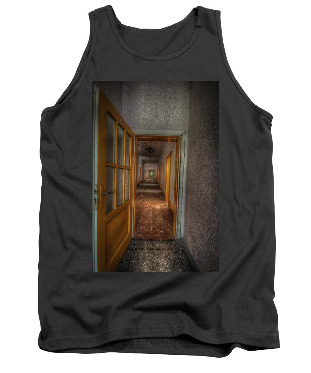 Urbex Tank Top featuring the digital art Orange Door by Nathan Wright