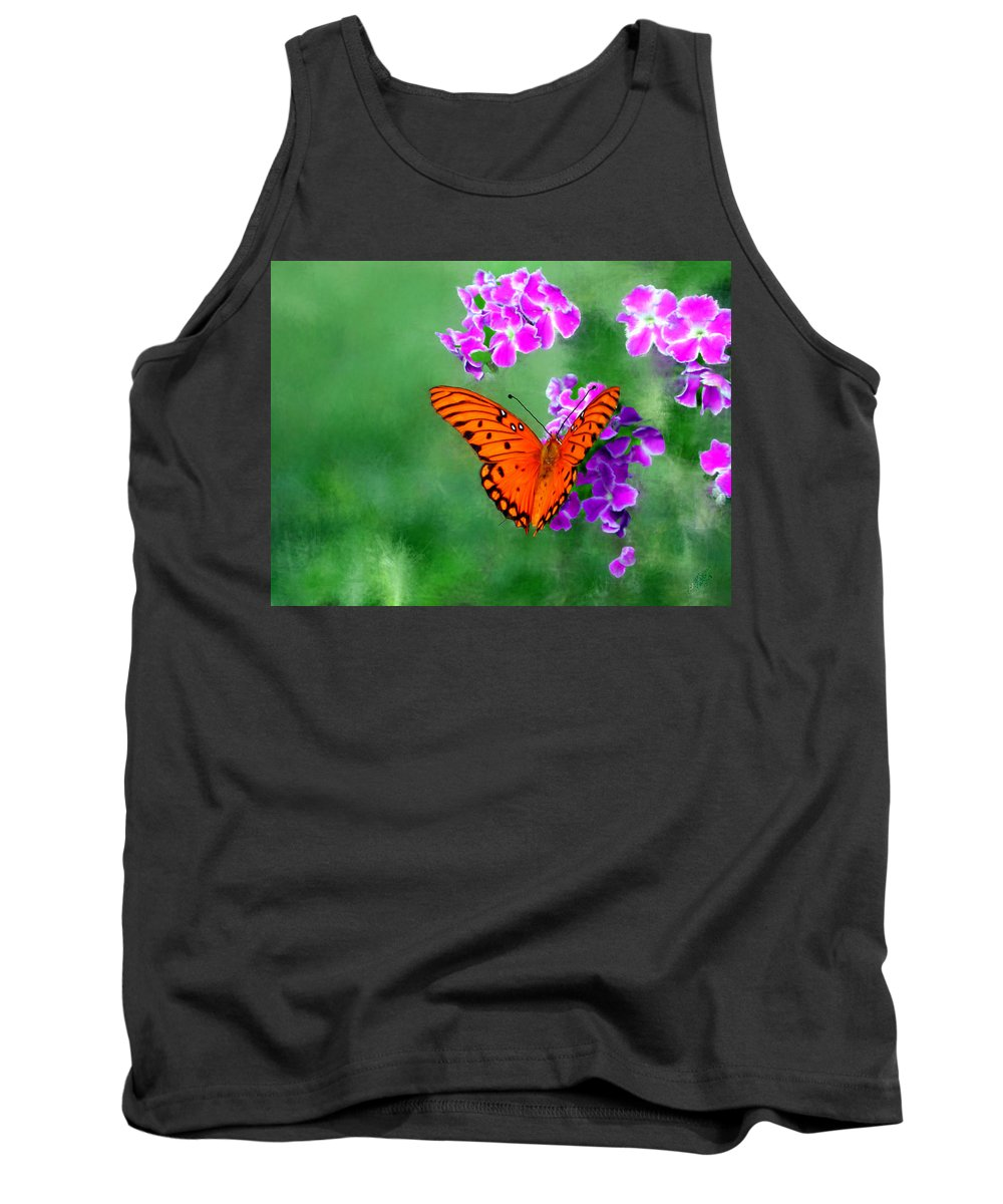 Orange Tank Top featuring the painting Orange Monarch Butterfly by Bruce Nutting