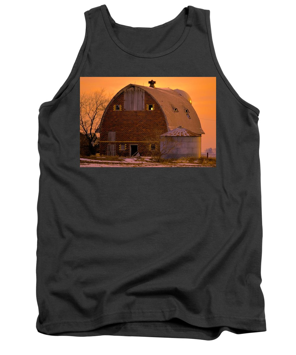 Rustic Tank Top featuring the photograph Orange Sky Barn by Bonfire Photography