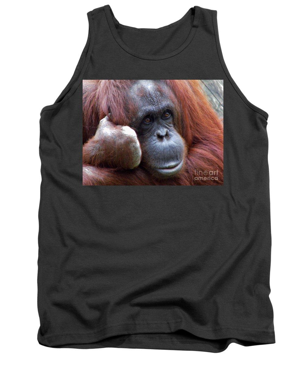 Orangutan Tank Top featuring the photograph Orangutan Portrait by D Hackett