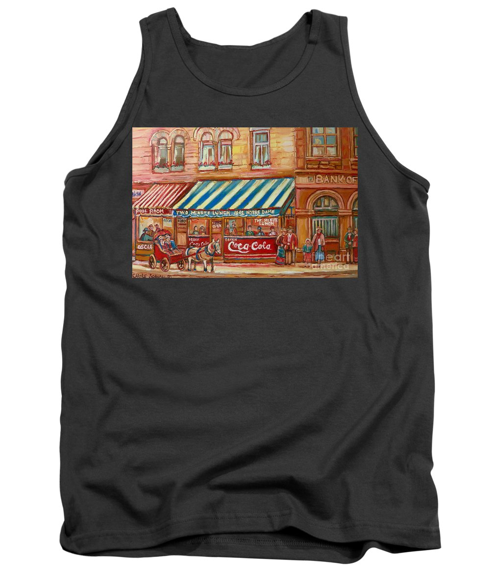 Montreal Scenes Tank Top featuring the painting Original Bank Notre Dame Street by Carole Spandau
