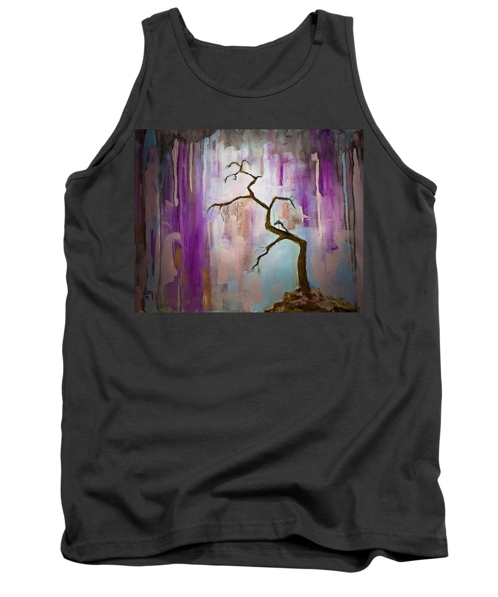 Landscape Painting Tank Top featuring the painting Original Painting Expressionist Contemporary Tree Art by Gray Artus