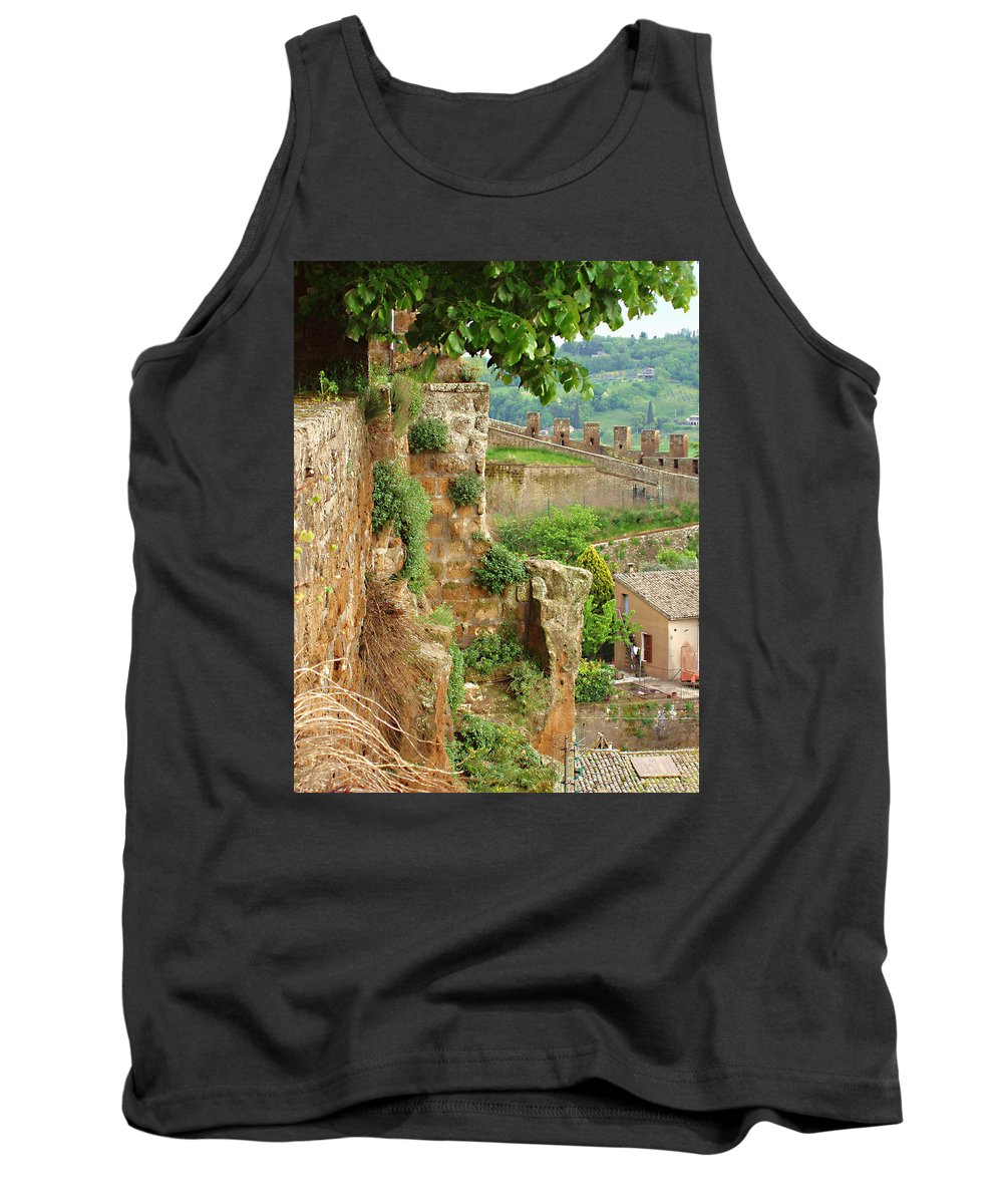 Orvieto Battlement Tank Top featuring the photograph Orvieto Battlement by Ellen Henneke