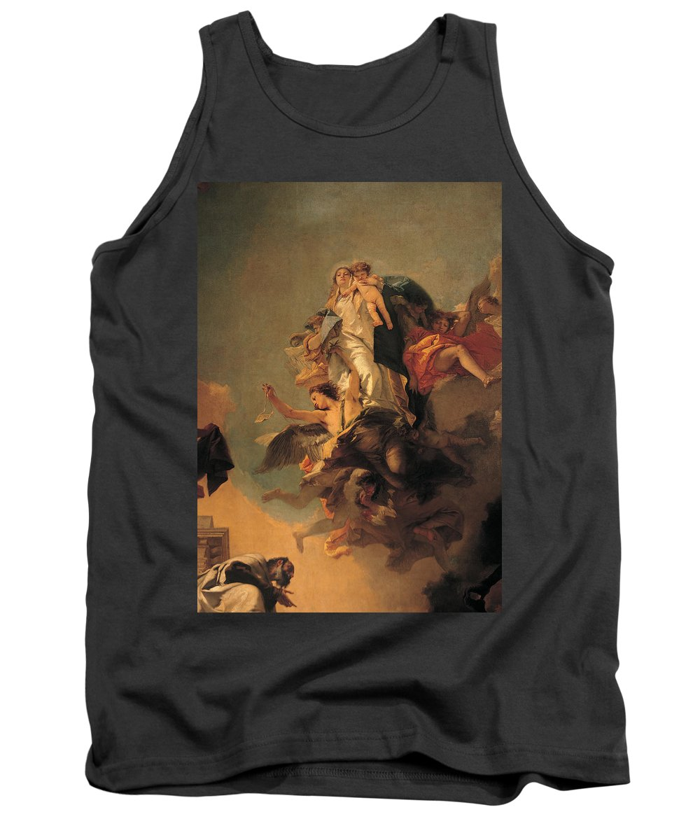 Detail Tank Top featuring the painting Our Lady Of Mount Carmel by Tiepolo Giambattista
