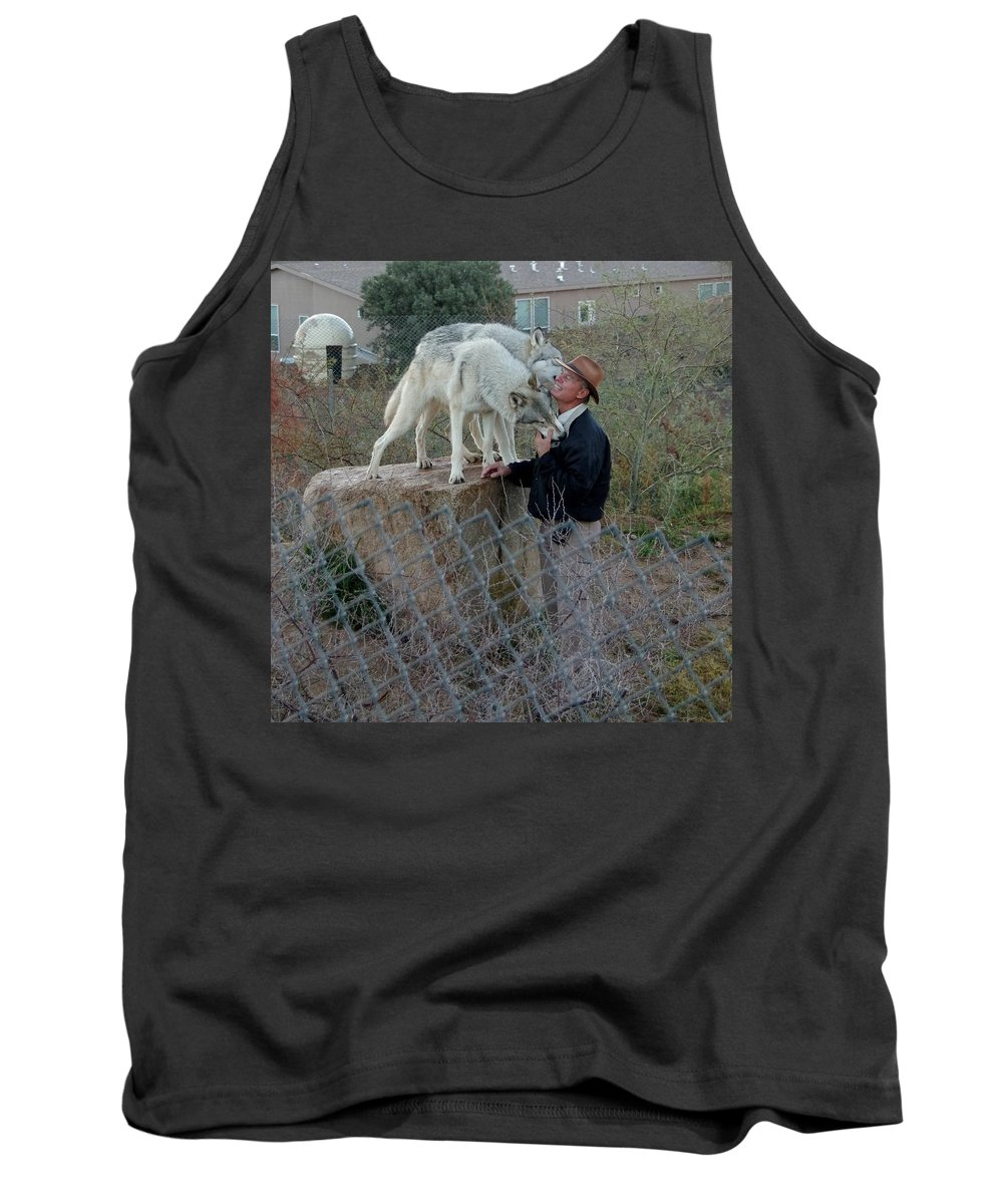 Out Of Africa Tank Top featuring the photograph Out Of Africa Friendly Wolves by Phyllis Spoor