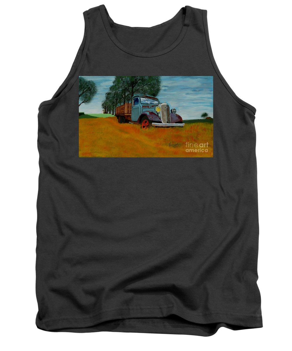 Truck Tank Top featuring the painting Out To Pasture by Anthony Dunphy