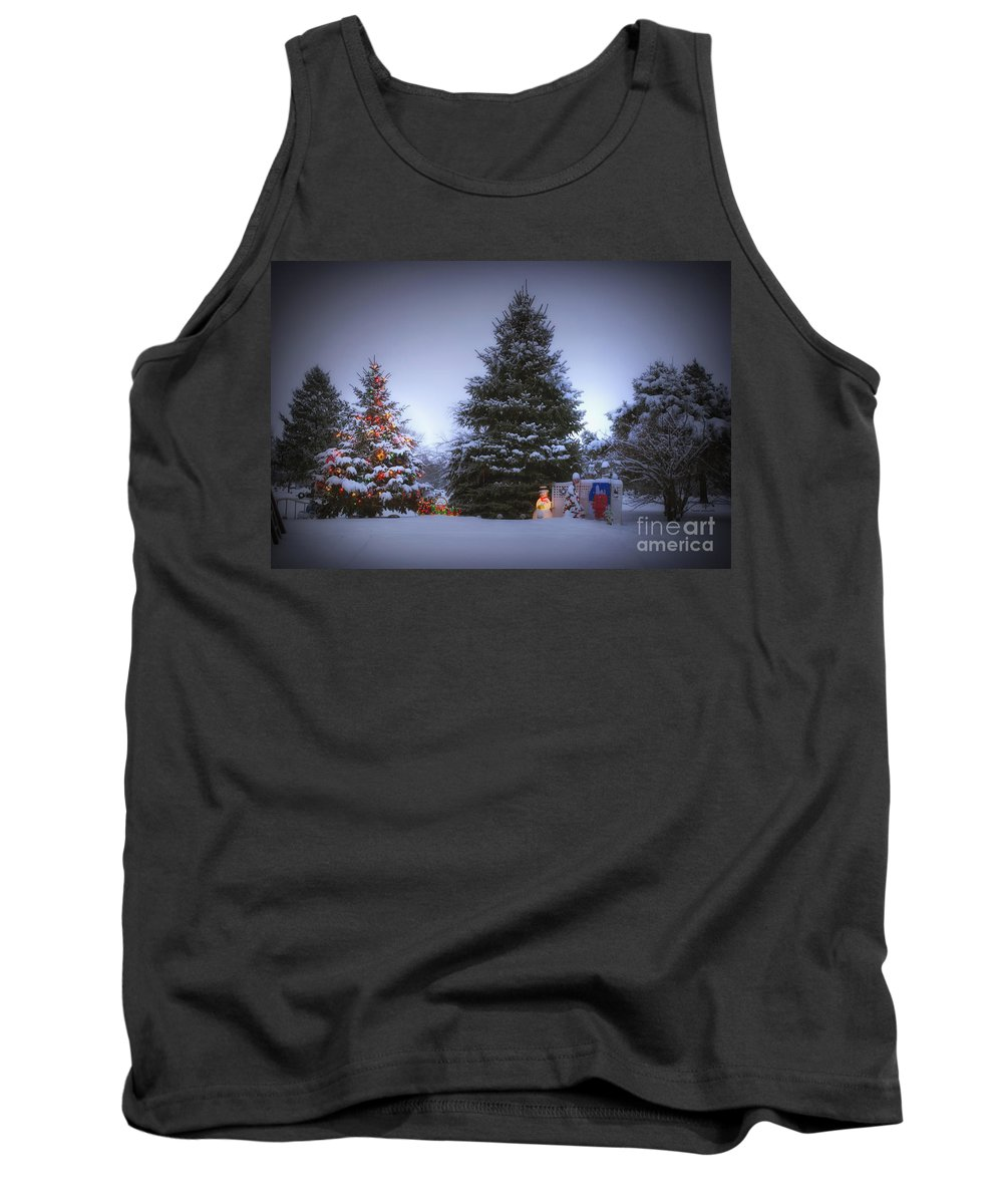 Tree Tank Top featuring the photograph Outdoor Christmas Tree by Thomas Woolworth
