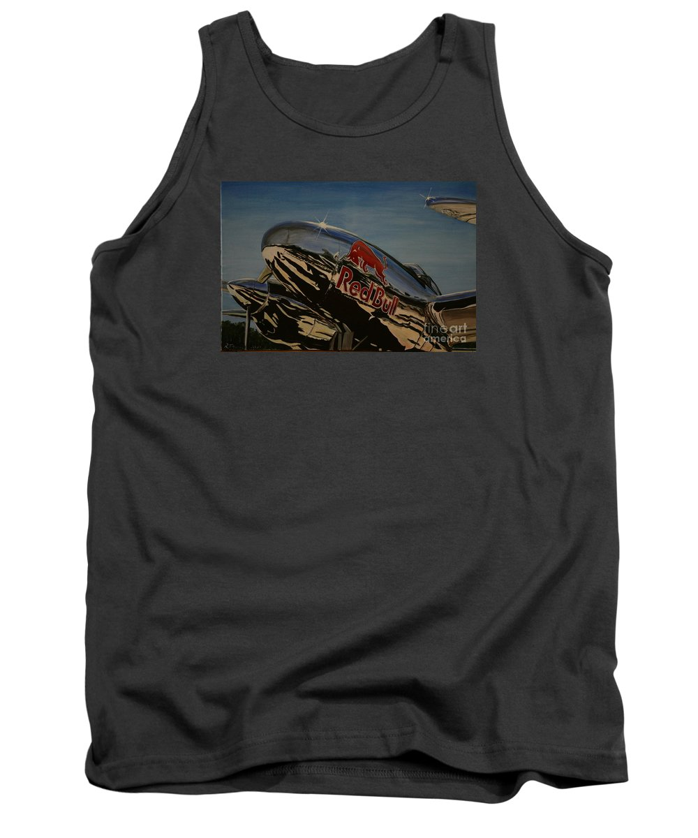 Warbirds Tank Top featuring the painting P38 Red Bull Lightning Warbird by Richard John Holden RA