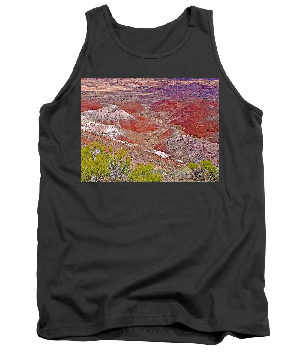 Painted Desert From Rim Trail In Petrified Forest National Park- T Tank Top featuring the photograph Painted Desert From Rim Trail In Petrified Forest National Park-arizona by Ruth Hager