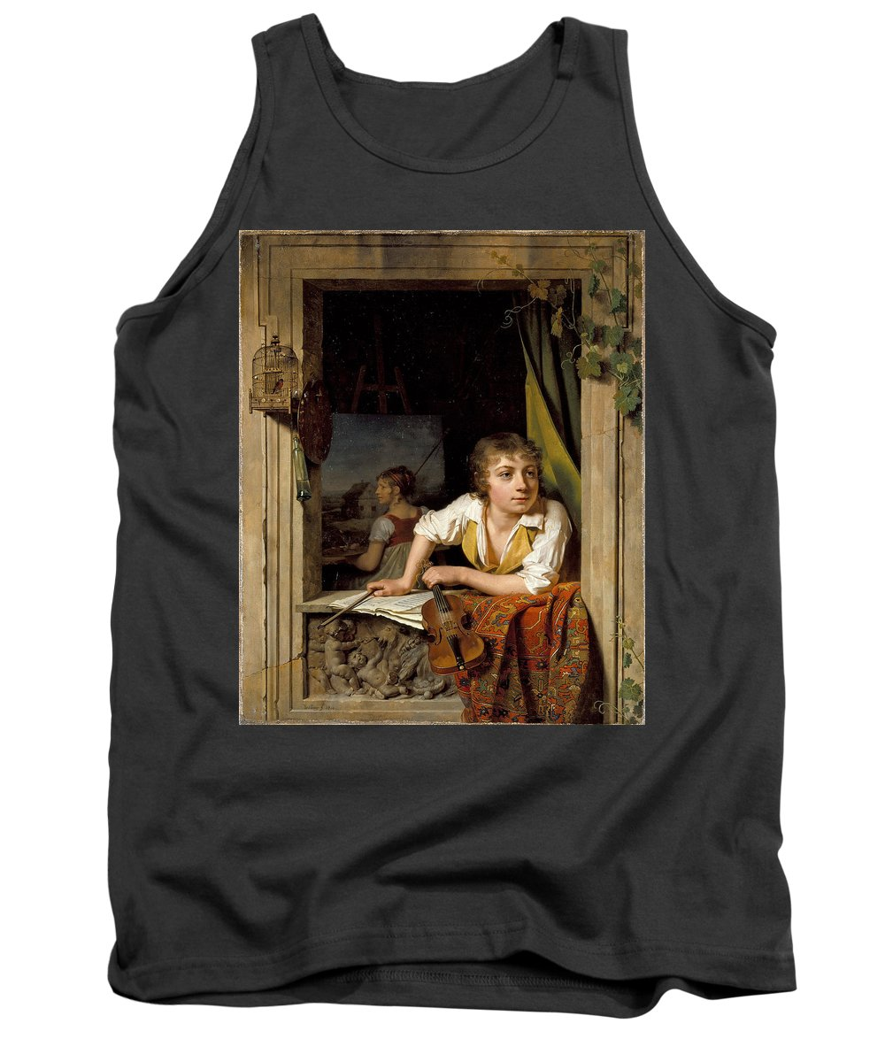 Martin Drolling Tank Top featuring the painting Painting And Music. Portrait Of The Artists Son by Martin Drolling