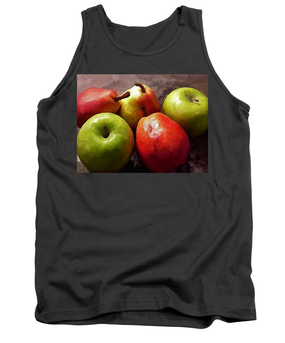 Apple Pear Fruit Produce Grocery Still+life Traditional Kitchen Dining+room Tank Top featuring the painting Painting Of Apples And Pears by Elaine Plesser