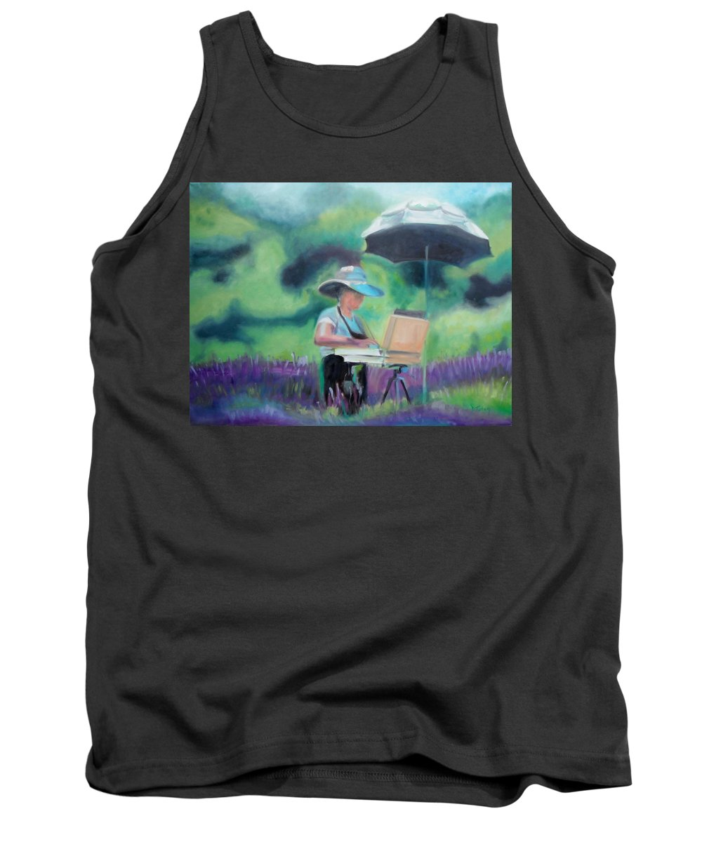Beliveau Tank Top featuring the painting Painting The Lavender Fields by Donna Tuten
