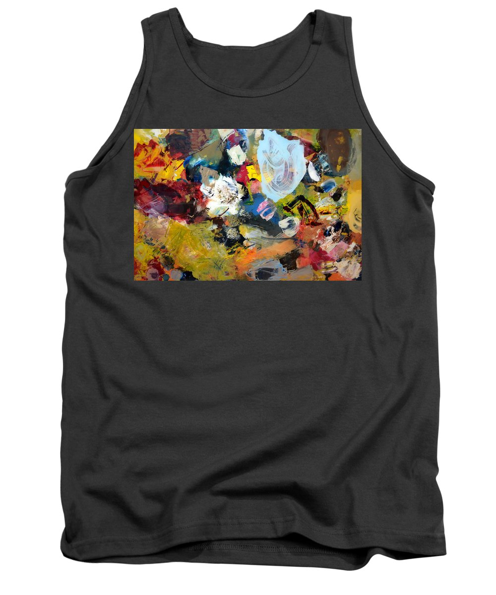 Rustic Tank Top featuring the painting Palette Abstract by Michelle Calkins