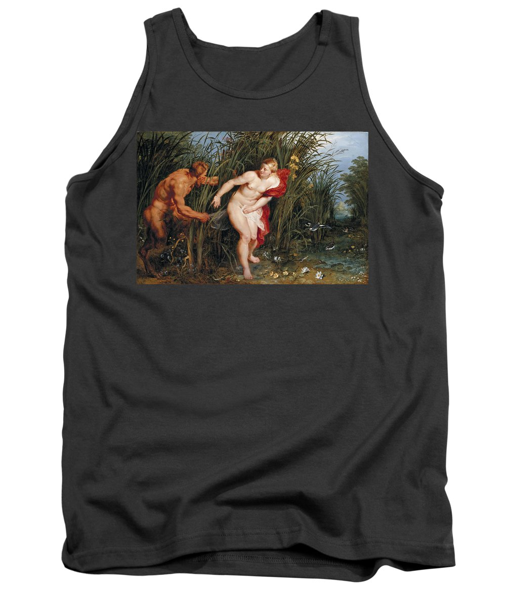 Peter Paul Rubens Tank Top featuring the painting Pan And Syrinx by Peter Paul Rubens