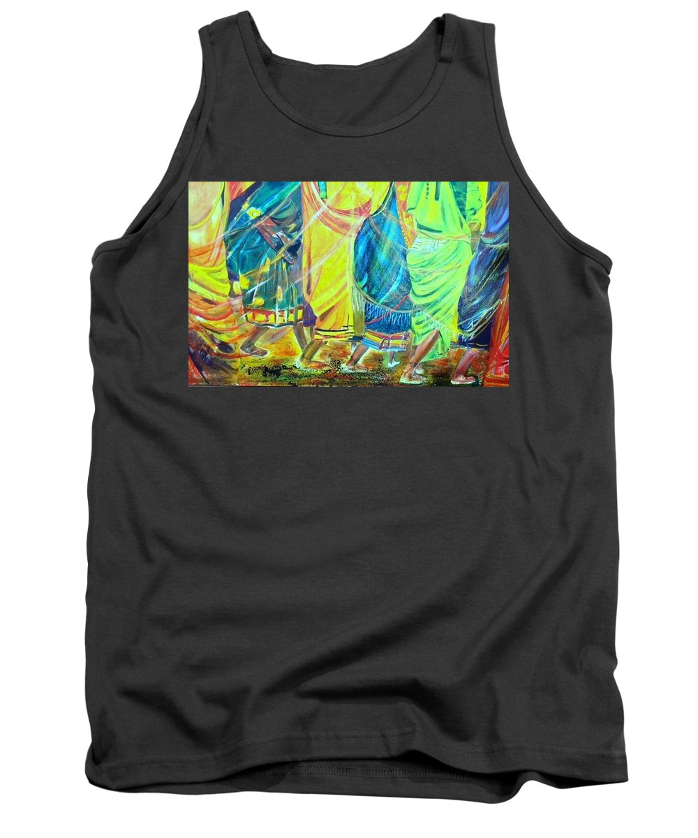 Women Walking Tank Top featuring the painting Panjim by Peggy Blood