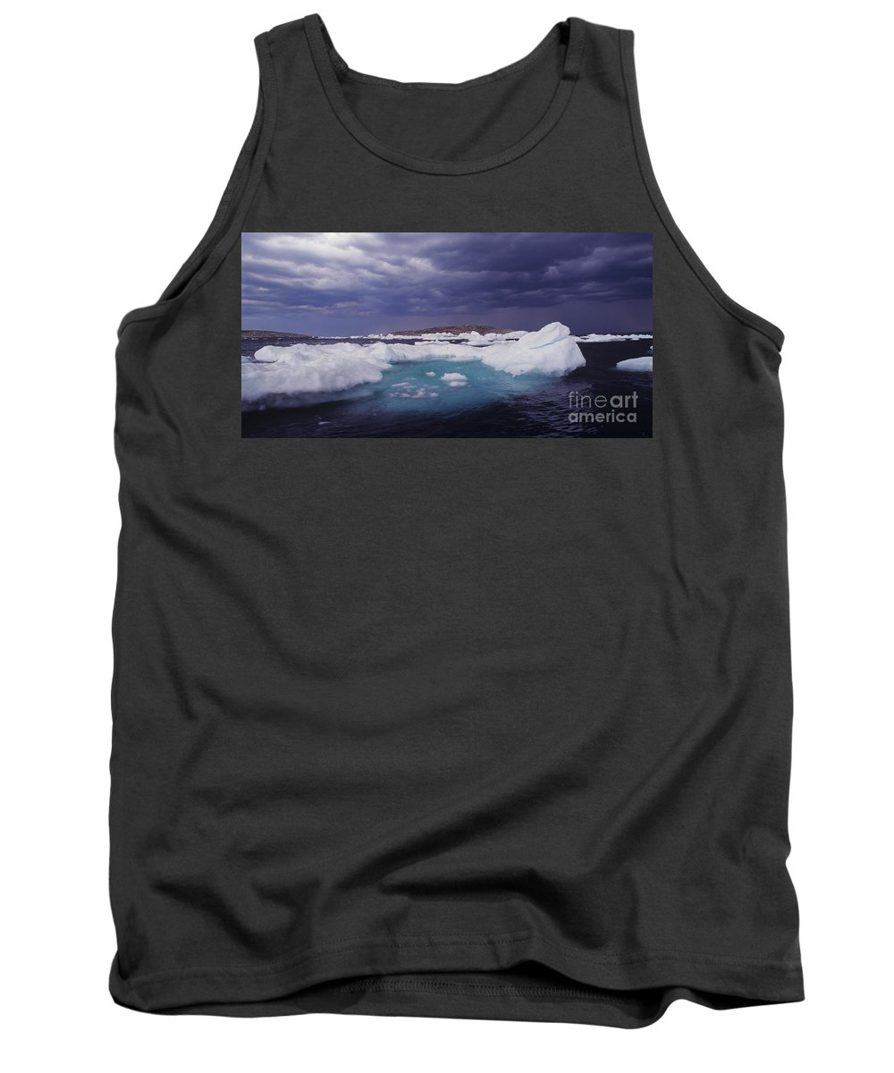 North America Tank Top featuring the photograph Panorama Ice Floes In A Stormy Sea Wager Bay Canada by Dave Welling