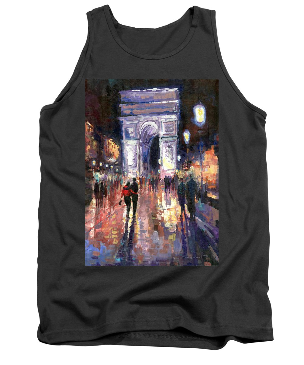 Acrilik On Canvas Tank Top featuring the painting Paris Miting Point Arc De Triomphie by Yuriy Shevchuk