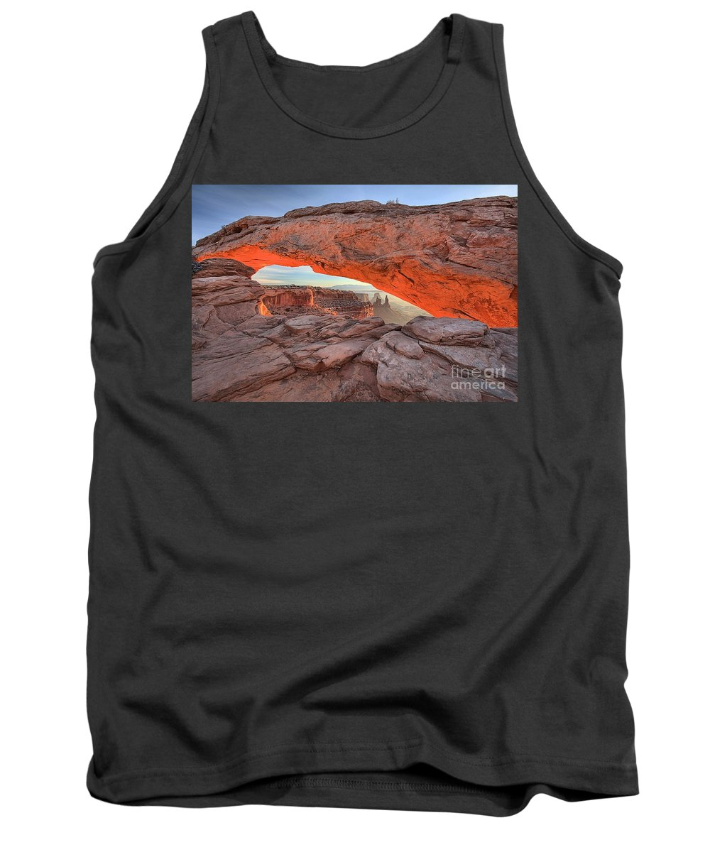 Mesa Arch Tank Top featuring the photograph Pastels At Canyonlands by Adam Jewell