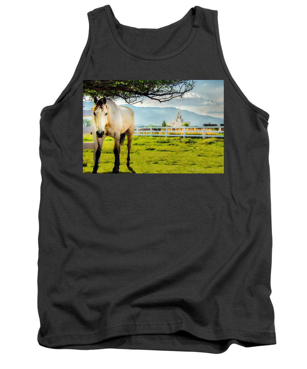 Lds Temples Tank Top featuring the photograph Payson Country Temple Oil Paint Texture by La Rae Roberts