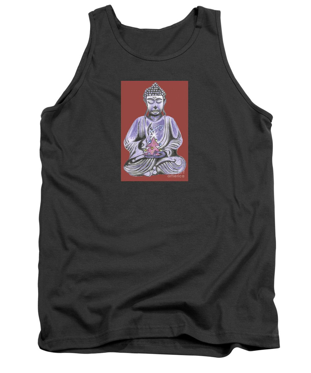 Buddhist Christmas Tank Top featuring the drawing Peace And Goodwill Two by Kevin J Cooper Artwork