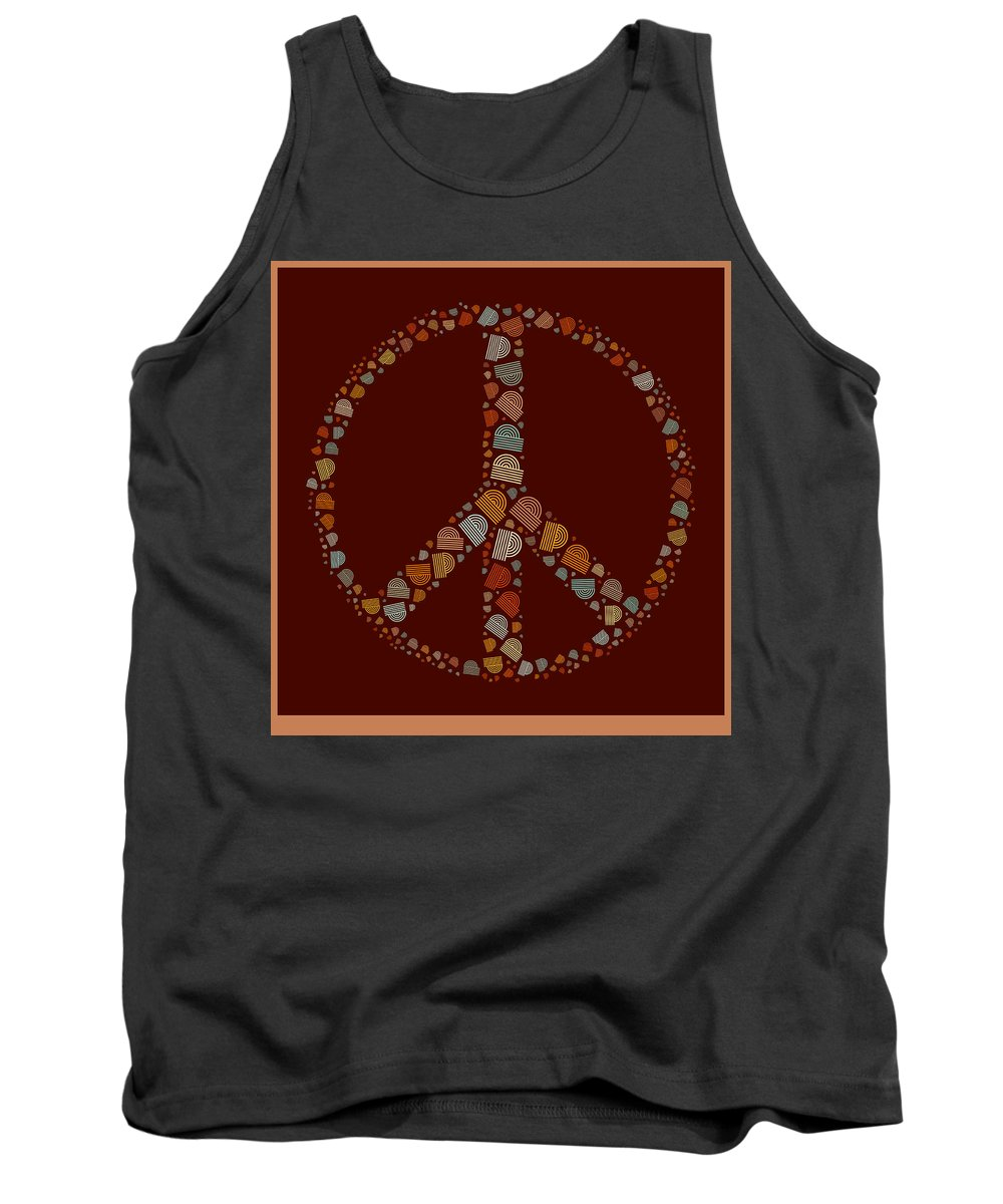 Brown Tank Top featuring the digital art Peace Symbol Design - S05d by Variance Collections