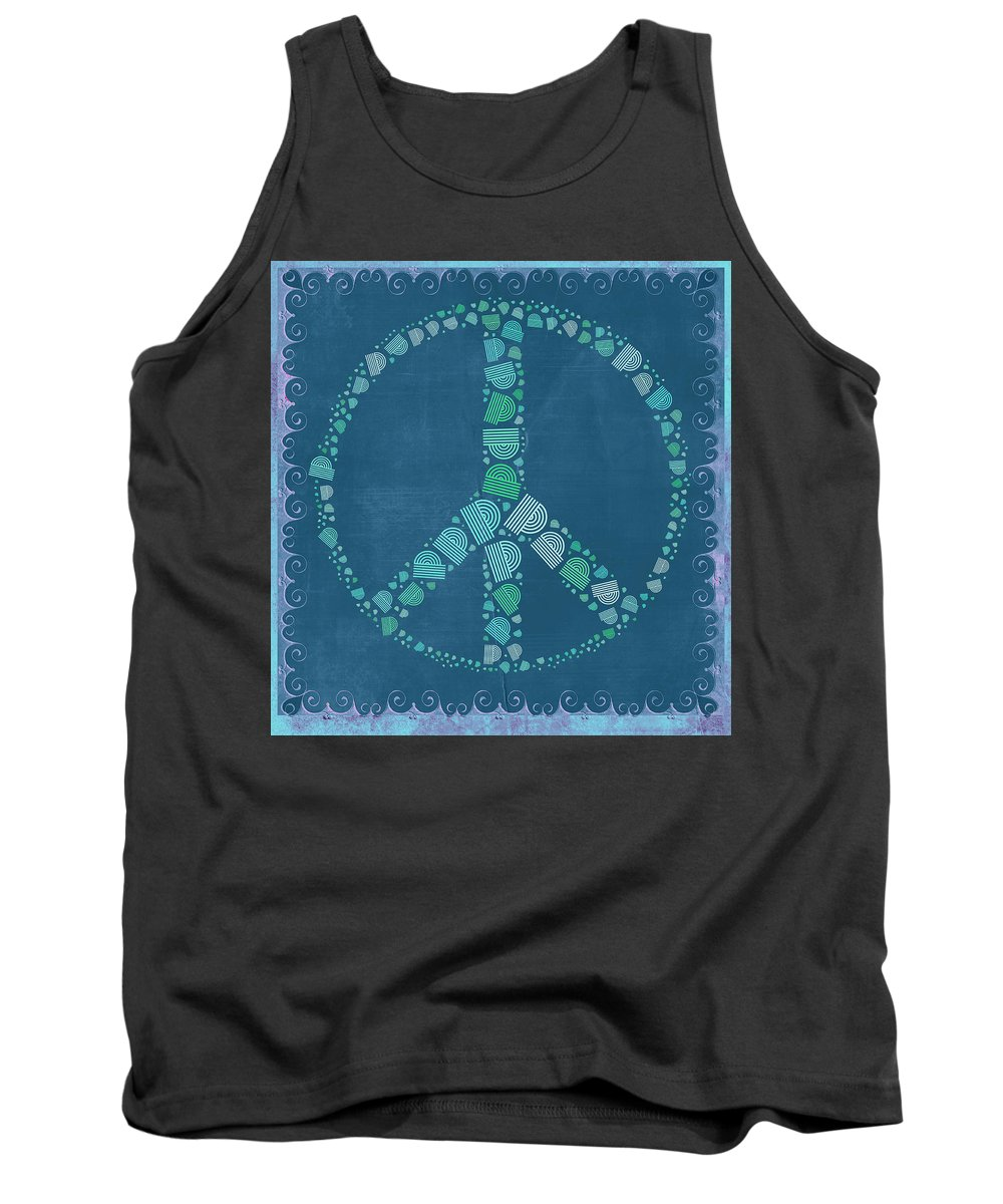 Blue Tank Top featuring the digital art Peace Symbol Design - Tq19at02 by Variance Collections