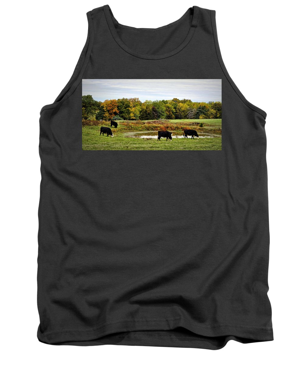 Cow Tank Top featuring the photograph Peaceful Pastures by Cricket Hackmann