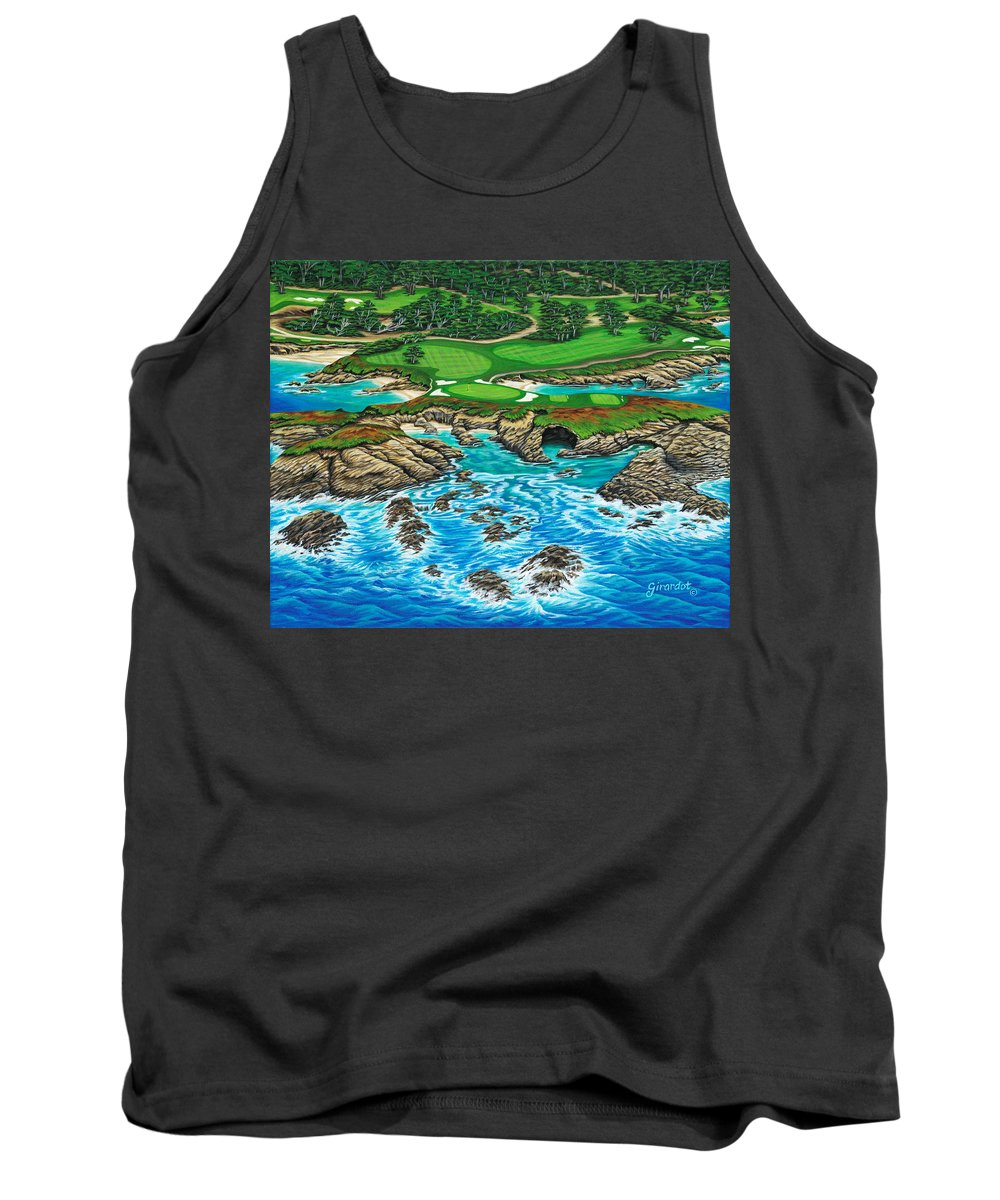 Ocean Tank Top featuring the painting Pebble Beach 15th Hole-north by Jane Girardot