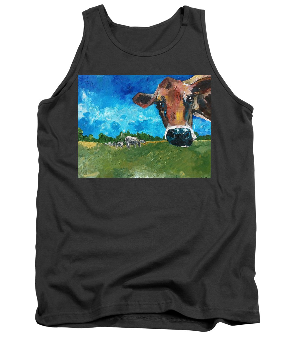 Cow Tank Top featuring the painting Peeping Bessie by Sean Parnell