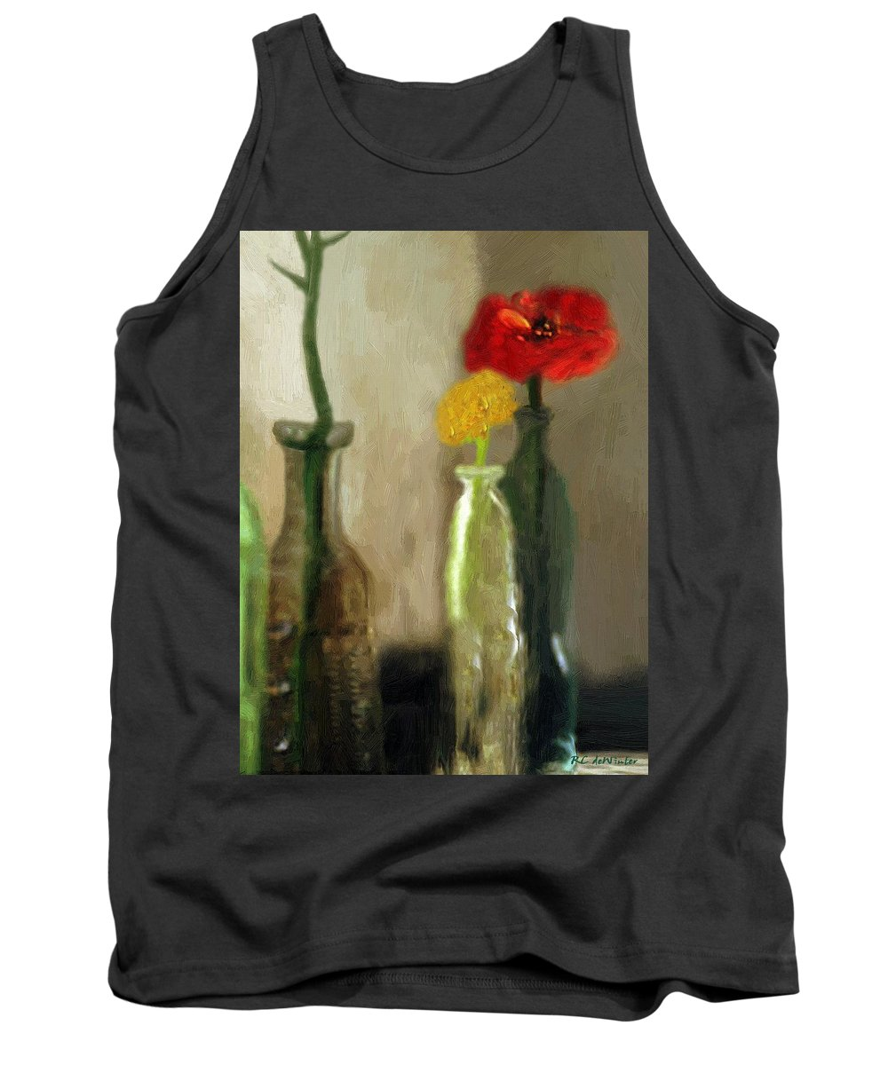 Bottles Tank Top featuring the painting Peggy's Flowers by RC DeWinter