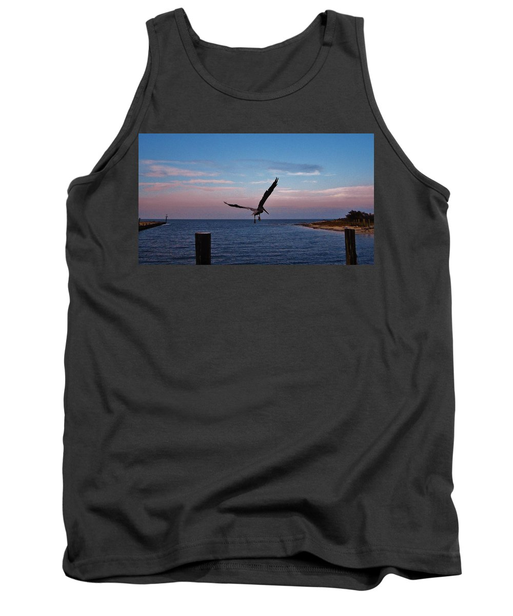 Mark Lemmon Cape Hatteras Nc The Outer Banks Photographer Subjects From Sunrise Tank Top featuring the photograph Pelican Flight Hatteras 2/11 by Mark Lemmon