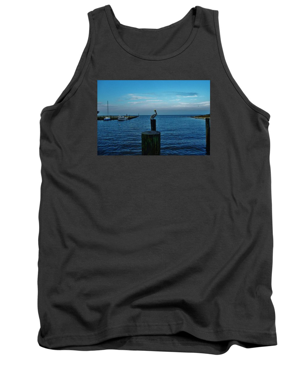 Outer Banks North Carolina Obx Pelican Avon Harbor Pamlico Sound Sailboat Fishing Boat Dock Tank Top featuring the photograph Pelican Pamlico Sound Hatteras 2/11 by Mark Lemmon
