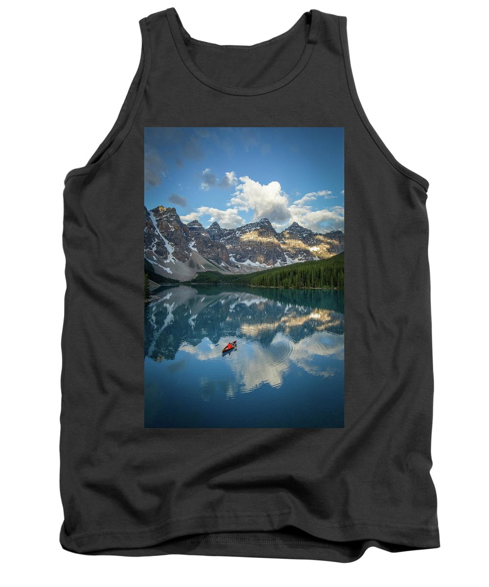 Young Adult Tank Top featuring the photograph Person In Canoe On Moraine Lake, Banff by Paul Zizka