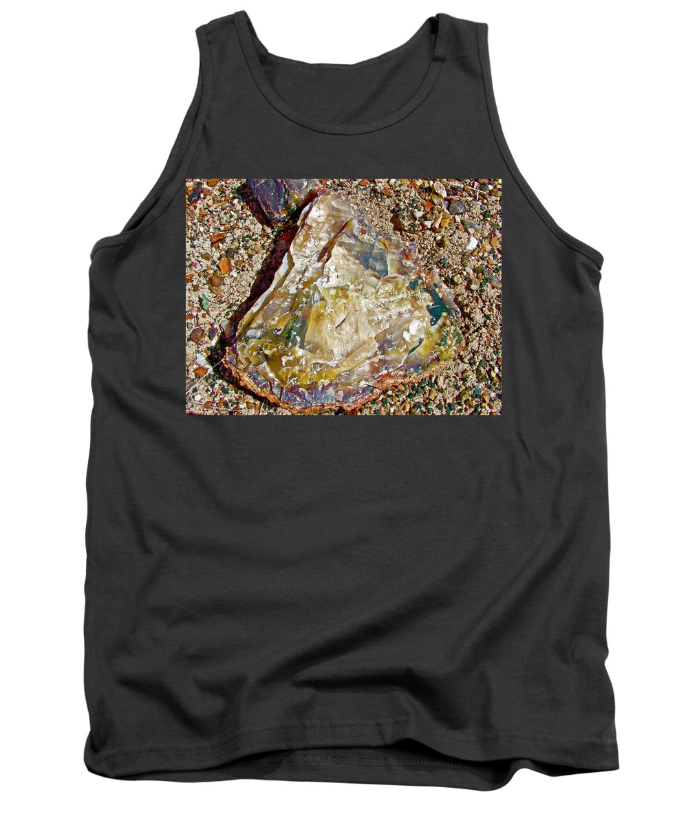 Closeup Of Petrified Wood In Crystal Forest In Petrified Forest National Park Tank Top featuring the photograph Petrified Wood In Crystal Forest In Petrified Forest National Park-arizona by Ruth Hager