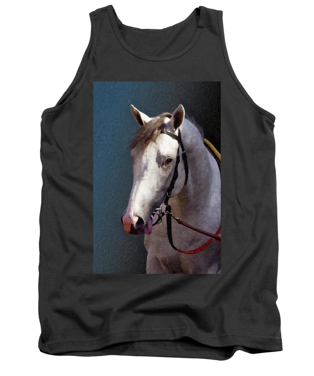Phantom Lover Tank Top featuring the painting Phantom Lover - Portrait Of A Race Horse by Angela Stanton