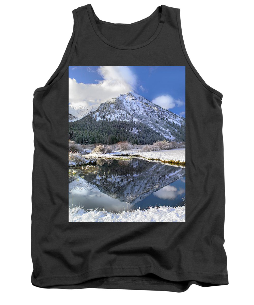 Feb0514 Tank Top featuring the photograph Phi Kappa Mountain Reflected In River by Tim Fitzharris