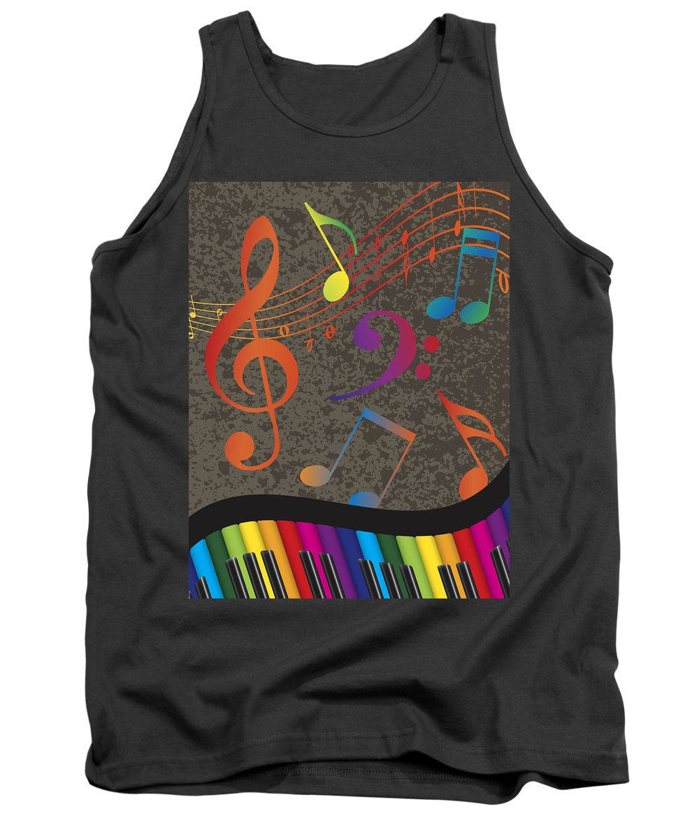 Piano Tank Top featuring the photograph Piano Wavy Border With Colorful Keys And Music Note by Jit Lim