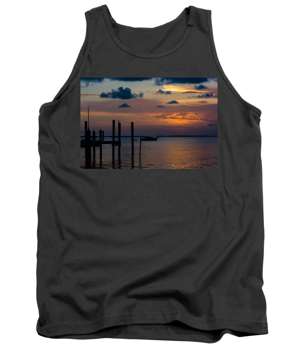 Anchored Tank Top featuring the photograph Pier At Buttonwood Sound by Ed Gleichman