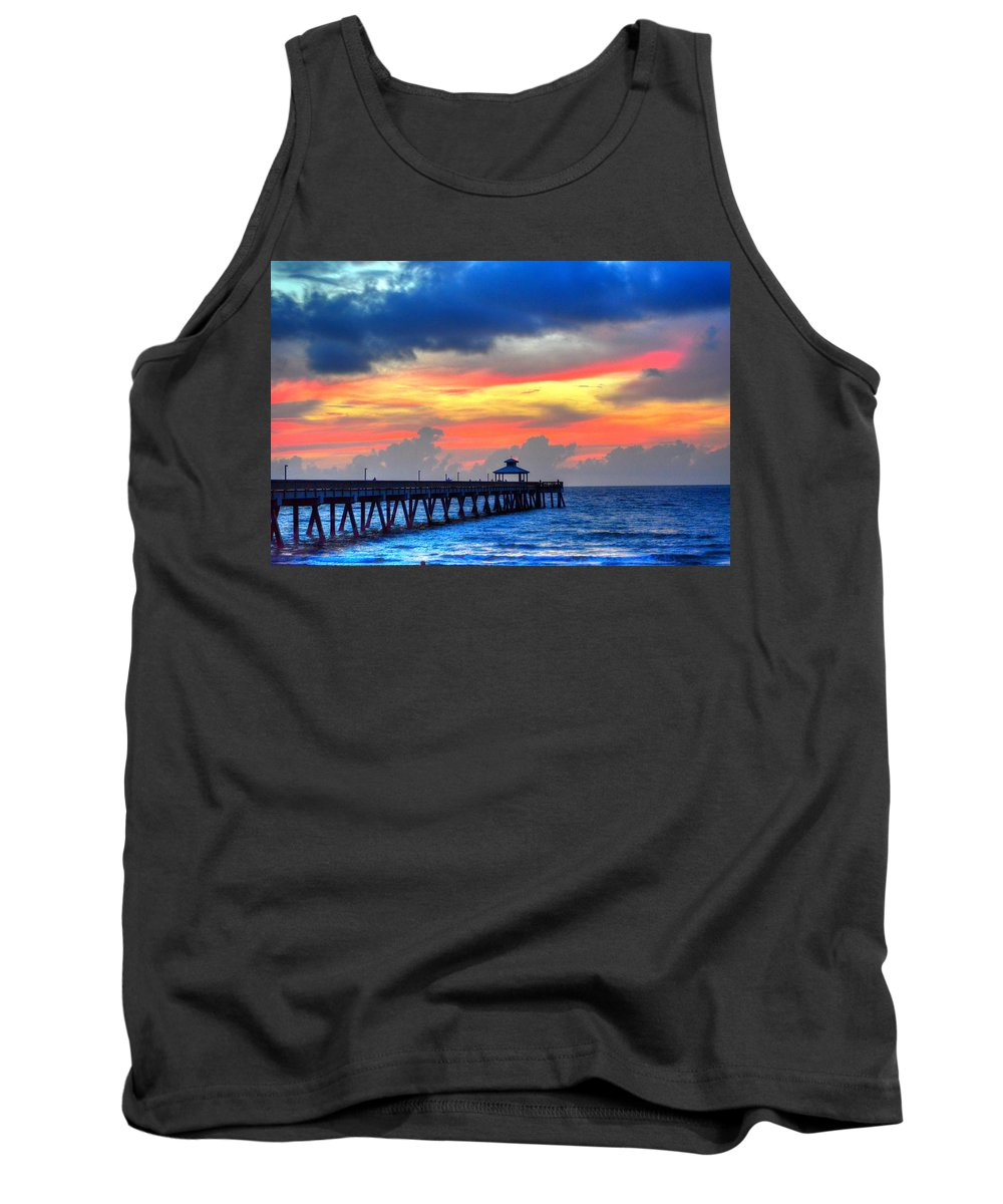 Sea Tank Top featuring the photograph Pier Colors by William Teed