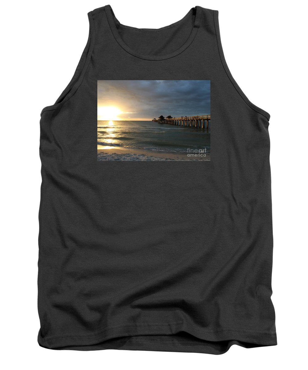 Pier Tank Top featuring the photograph Pier Sunset Naples by Christiane Schulze Art And Photography