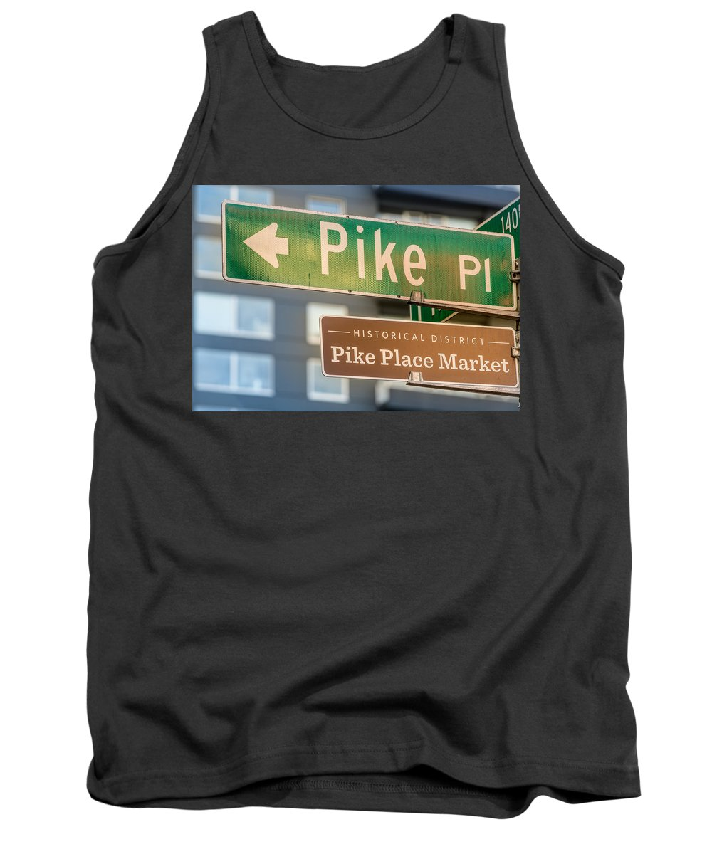 Pike Tank Top featuring the photograph Pike Place Market Sign by Steve Gadomski