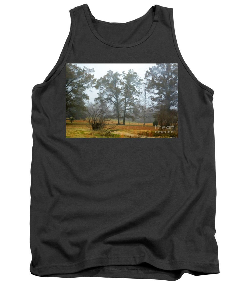 Mist Tank Top featuring the photograph Pine Trees In Mist - Digital Paint 1 by Debbie Portwood